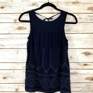 Crown & Ivy Navy Blue Embroidered Eyelet Tank Top